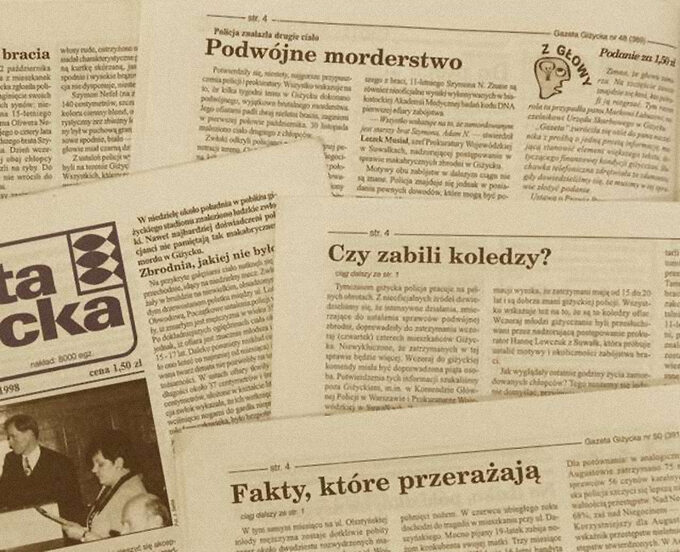 """Wycinki prasowe """"Zabójstwo Adama i Szymona N. w 1998 r. """""""