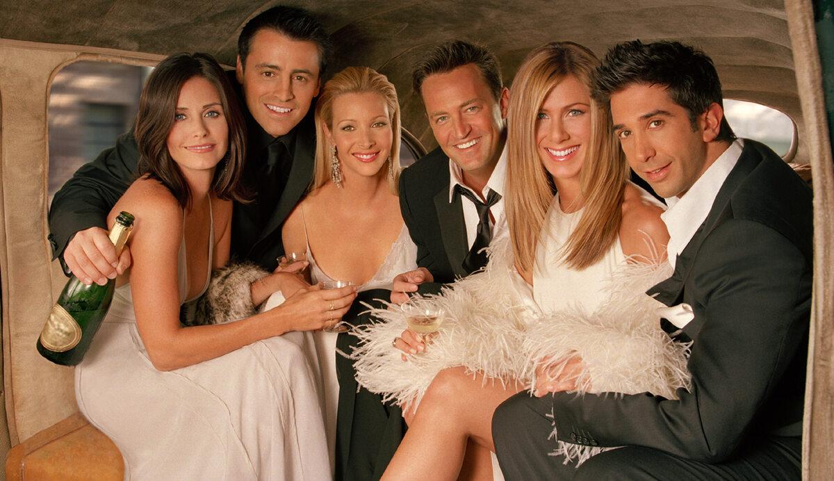 """Obsada serialu """"Przyjaciele"""" Jennifer Aniston, Courteney Cox, Lisa Kudrow, Matt LeBlanc, Matthew Perry i  David Schwimmer."""