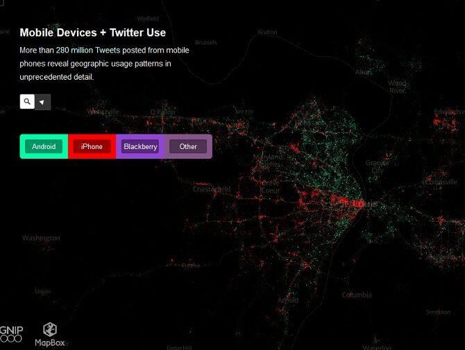 Wiadomości wysłane na Twittera z telefonów. Jeśli nałożyć na to mapę dochodów to okazuje się, że biedni korzystają z Androida, a bogaci z iOSa. Wyjątkiem są centra miast, gdzie mieszka biedota, ale z uwagi na biurowce przeważają iPhony