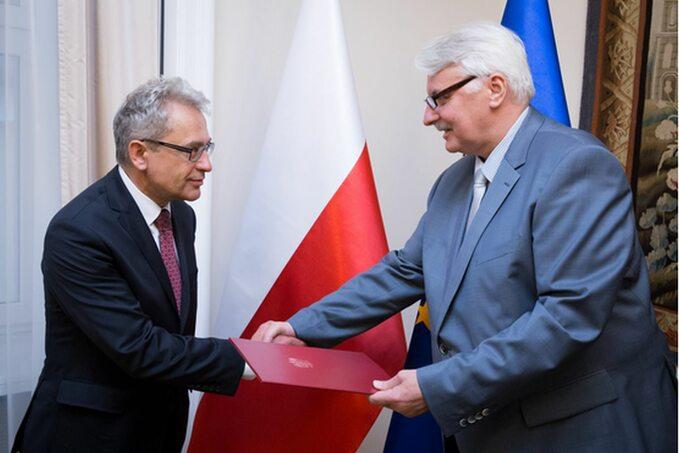Ambasador Włodzimierz Marciniak iMinister Spraw Zagranicznych Witold Waszczykowski