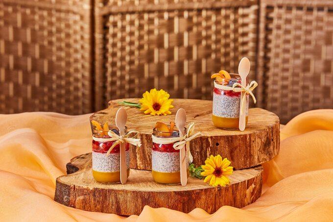 Deser chia zmusem mango iowocami
