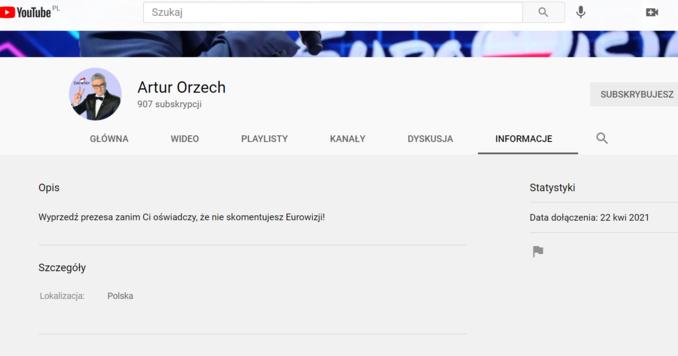 Kanał Artura Orzecha naYouTube'ie