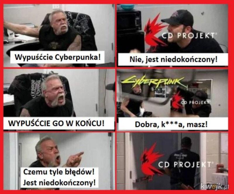 Mem w reakcji na błędy Cyberpunka 2077