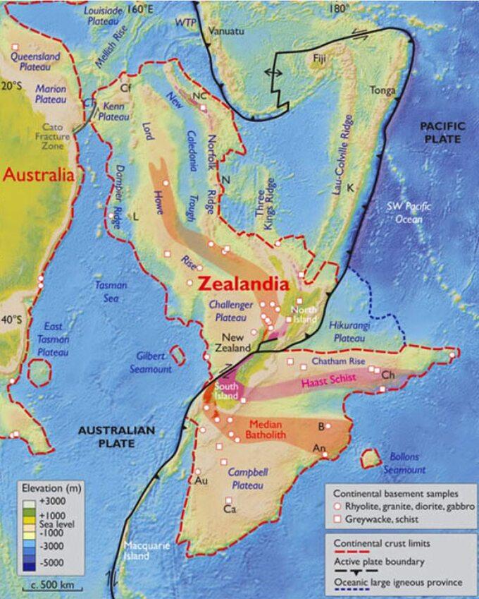 Mapa przedstawiająca umiejscowienie Zealandii