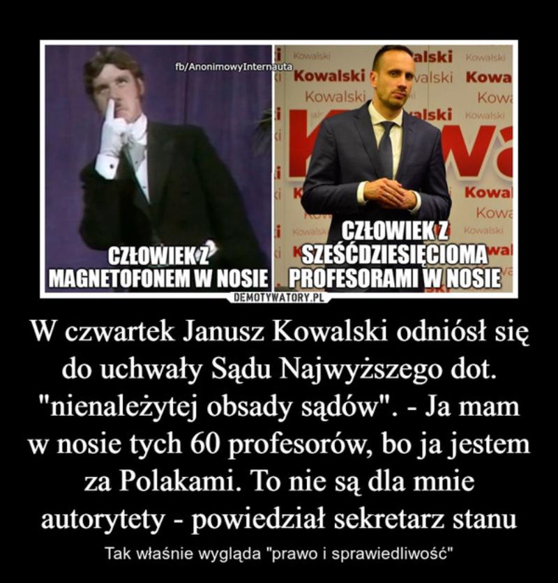 Słynna wypowiedź Janusza Kowalskiego o autorytetach
