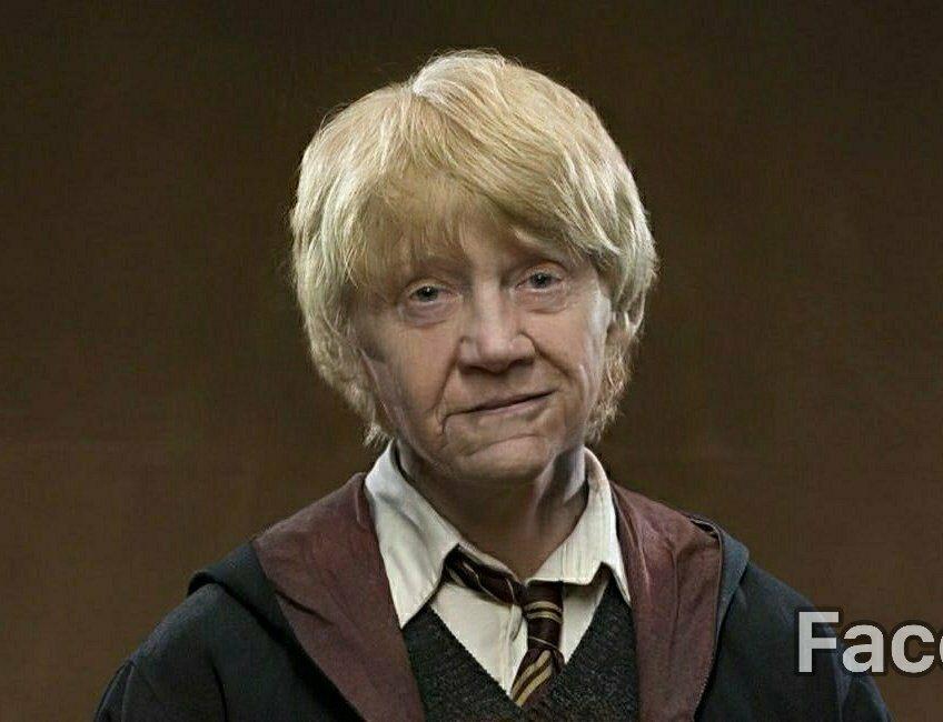Ron Wesley (Rupert Grint) postarzony przez FaceApp