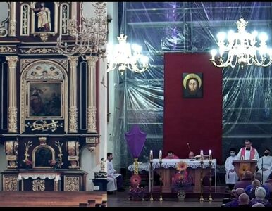 Dziwna transmisja z mszy św. w Nowym Sączu. W obraz wklejono puste ławki