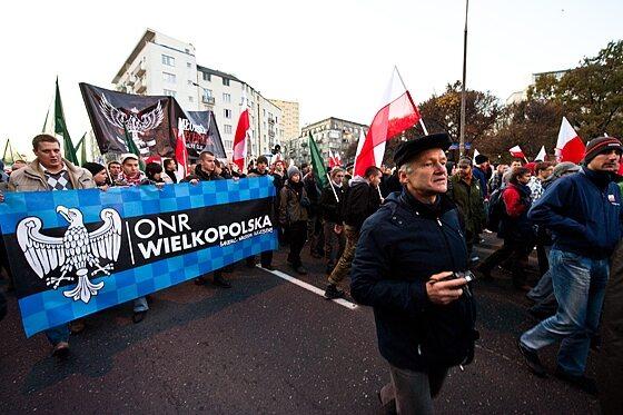 """Jednym z organizatorów """"Marszu Niepodległości"""" był ONR... (fot. Jakub Czermiński)"""