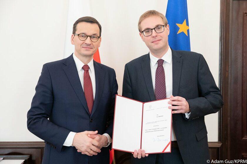 Premier Mateusz Morawiecki i Jan Sarnowski