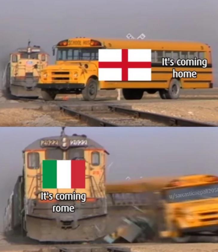 Mem przed finałem Euro 2020: Włochy - Anglia (okładka The National)