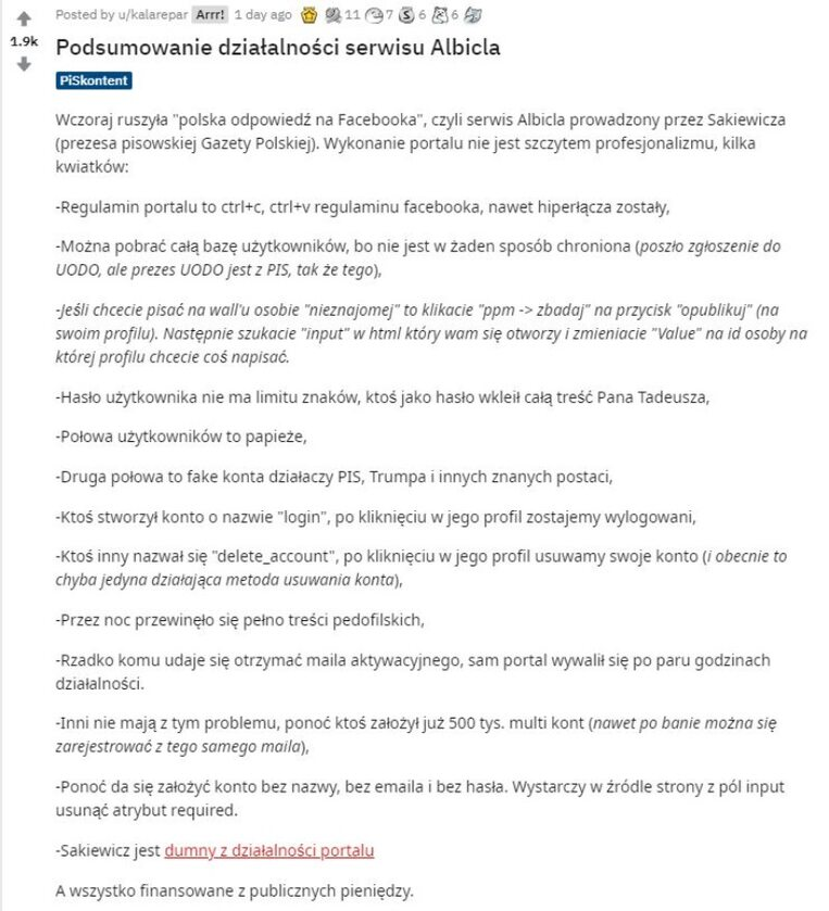 Reddit podsumowuje portal Albicla.com