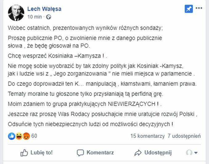 Post Lecha Wałęsy