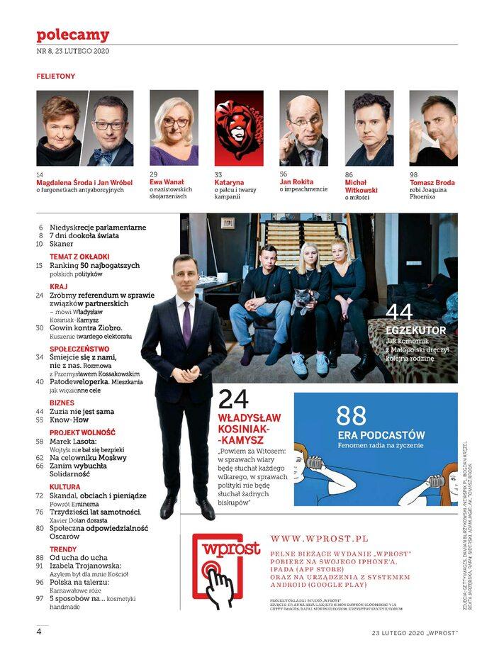 Tygodnik WPROST 8/2020 -Spis treści