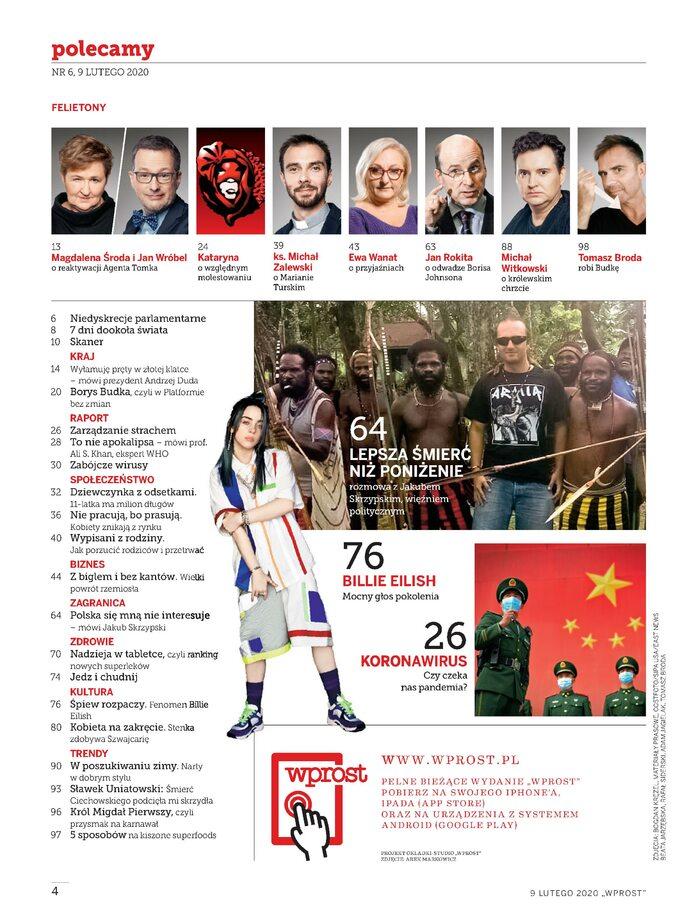 Tygodnik WPROST 6/2020 -spis treści
