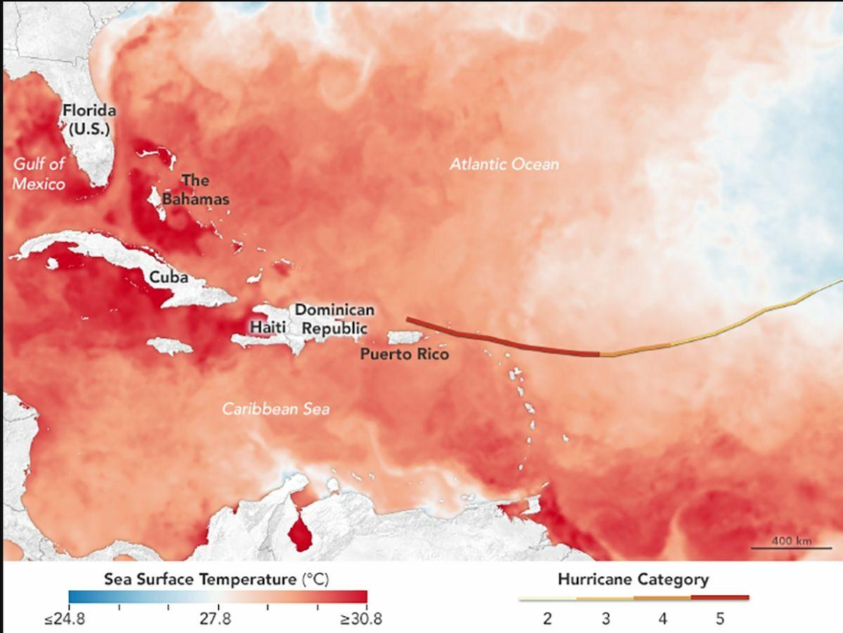 Trasa huraganu Irma. Im intensywniejsza czerwień, tym cieplejsza woda w oceanie