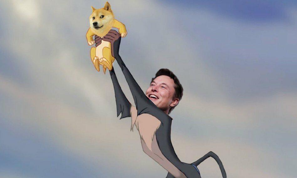 Mem z Elonem Muskiem i kryptowalutą Dogecoin