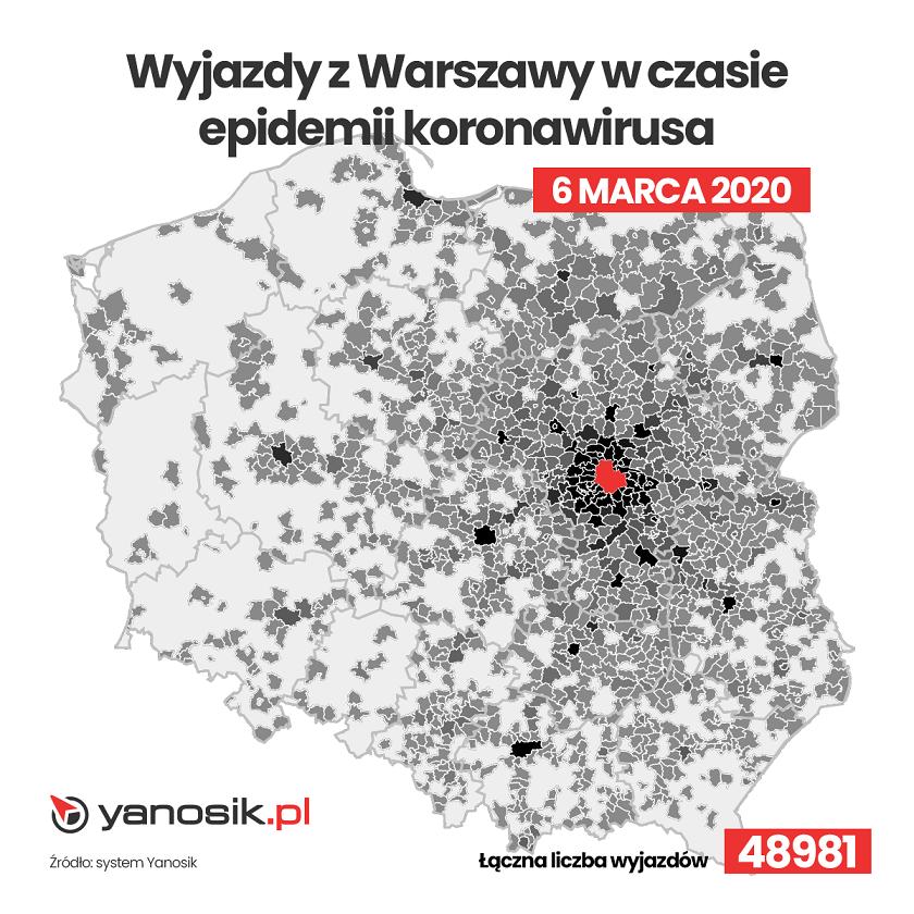 Wyjazdy z Warszawy w czasie epidemii koronawirusa