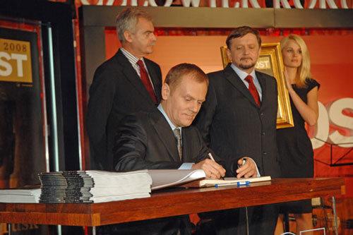 Człowiek Roku 2008 - Donald Tusk oraz Marek Król, Stanisław Janecki