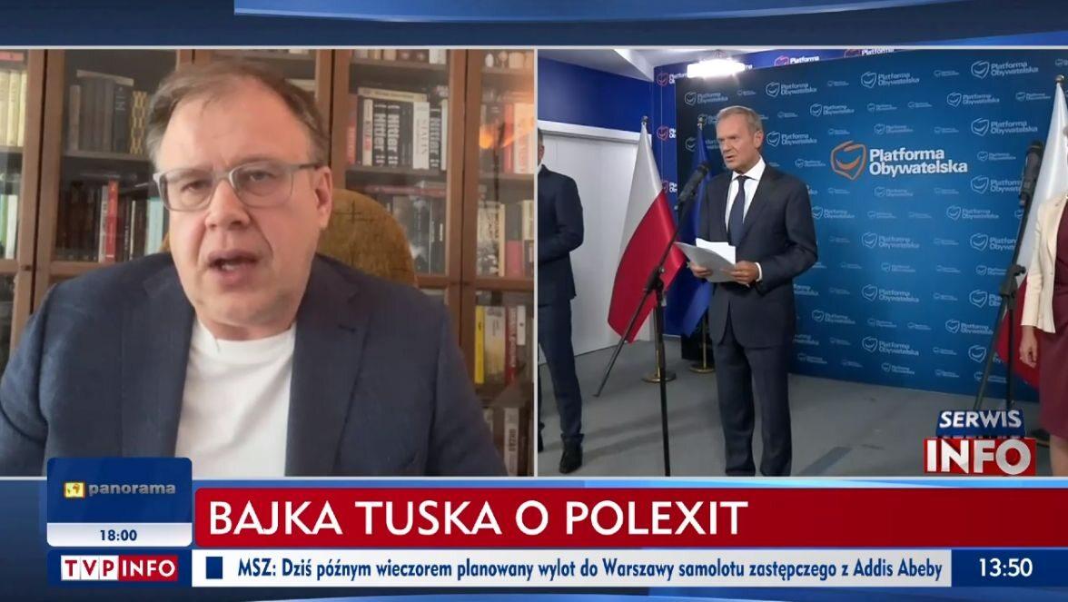 Paski TVP Info o Tusku i konwencji PO