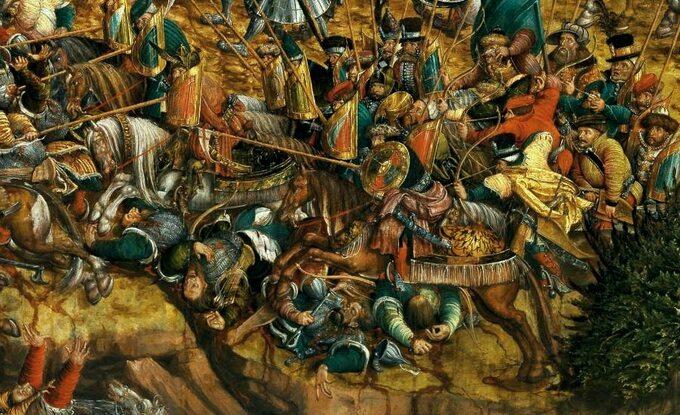 Szarża raców ztarczami (protoplastów polskiej husarii), fragment obrazu bitwa podOrszą
