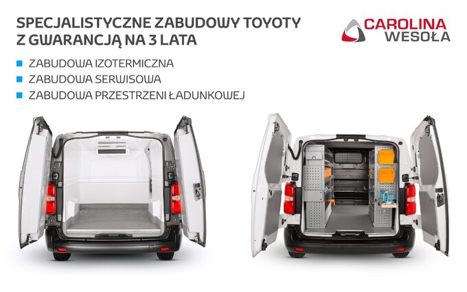 Specjalistyczne zabudowy Toyota Professional dostępne wCarolina Wesoła