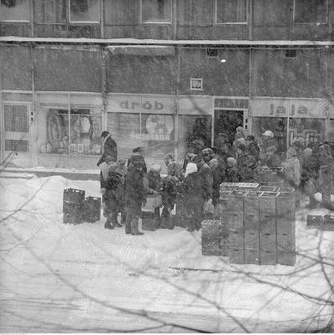 Kolejka przed sklepem spożywczym przy ul. Malczewskiego wWarszawie, rok 1979