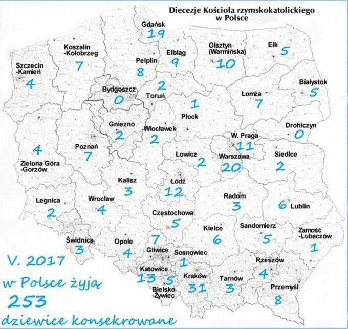 Mapa Polski zoznaczonymi konsekrowanymi