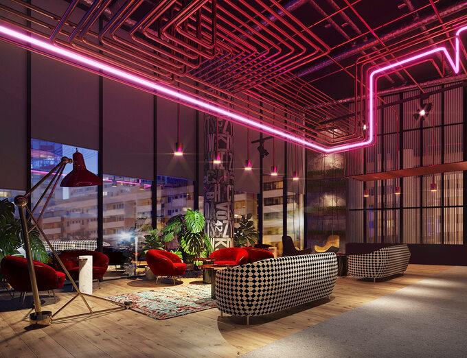 Wnętrza hoteli wThe Warsaw HUB