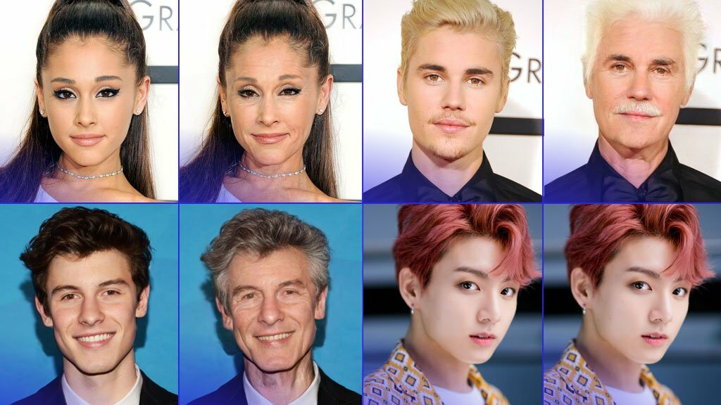 Ariana Grande, Justin Bieber i inni - postarzeni przez FaceApp
