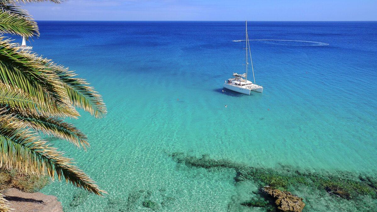 Fuerteventura. Widok na lagunę w pobliżu Morro Jable