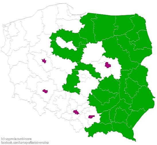 Widać, bardzo metropolie ciągną gospodarczo kraj. Obszary zaznaczone na fioletowo skupiają 4,4 mln Polaków i wytwarzają 372 675 mln zł PKB. Zaznaczone na zielono zamieszkane są przez 13 mln ludzi i wytwarzają 359 994 mln zł PKB.