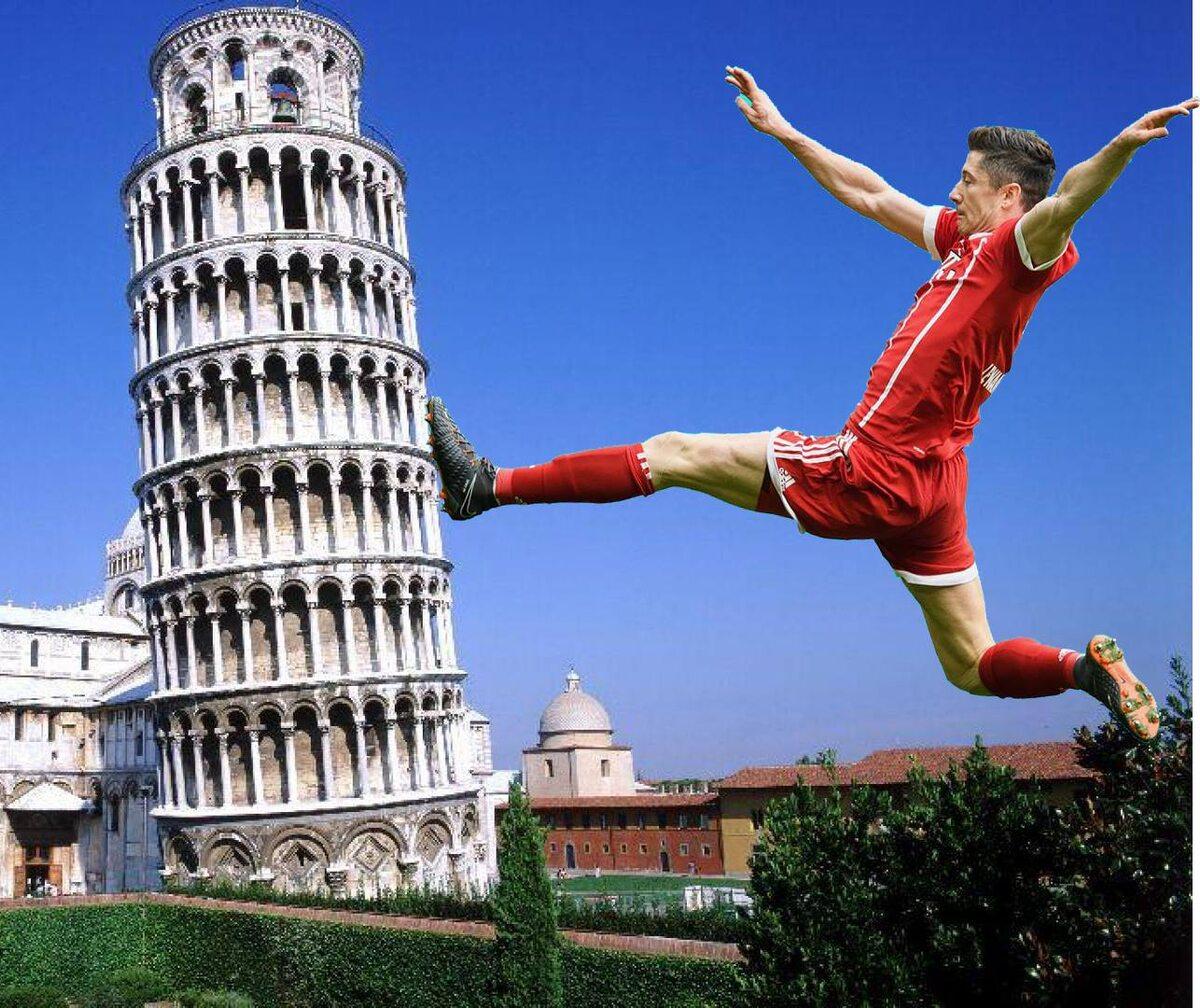 Lewandowski i Krzywa Wieża w Pizzie