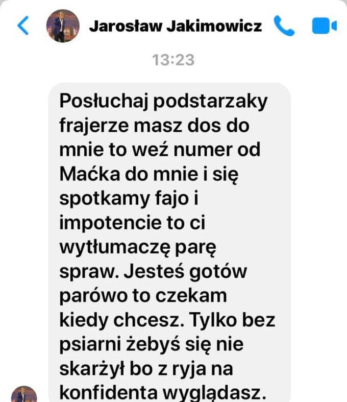 Wiadomość wysłana przez Jarosława Jakimowicza