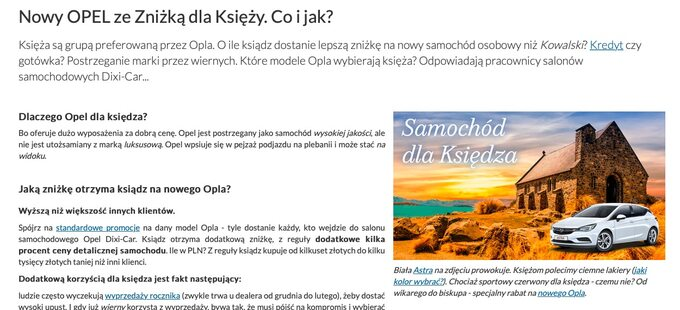 Reklama zniżki nastronie Dixi-Car.pl