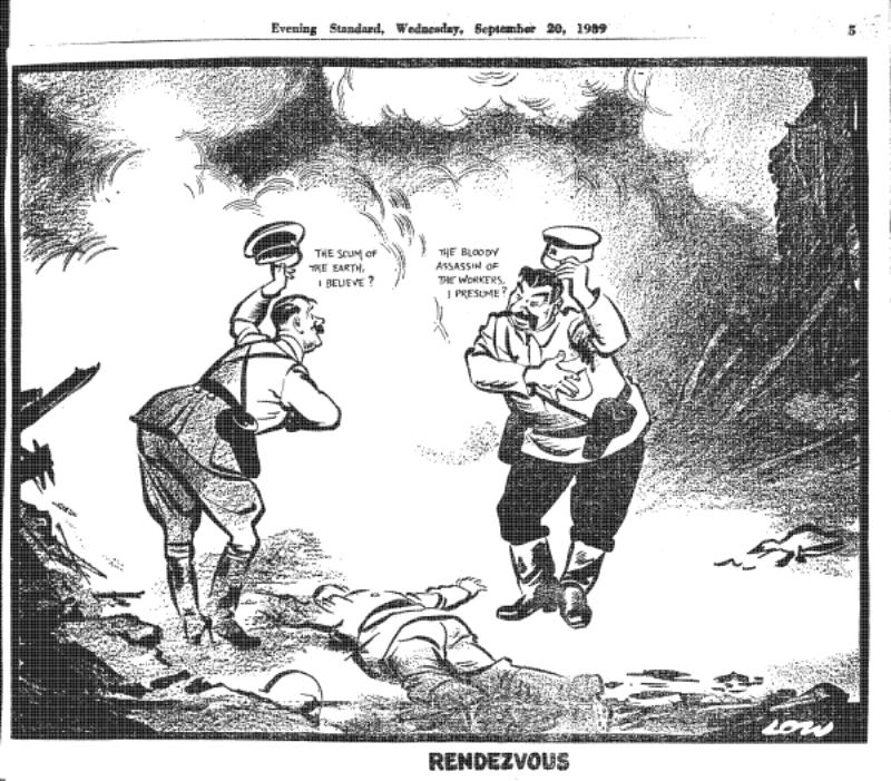 """A tak 17 września widział zachód. Spotkanie Hitlera i Stalina nad trupem polskiego żołnierza na karykaturze w brytyjskiej gazecie Powitanie Hitlera i Stalina: Hitler: """"szumowina Ziemi, jeśli się nie mylę?"""" Stalin: """"Krwawy zabójca robotników, jak mniemam?"""""""