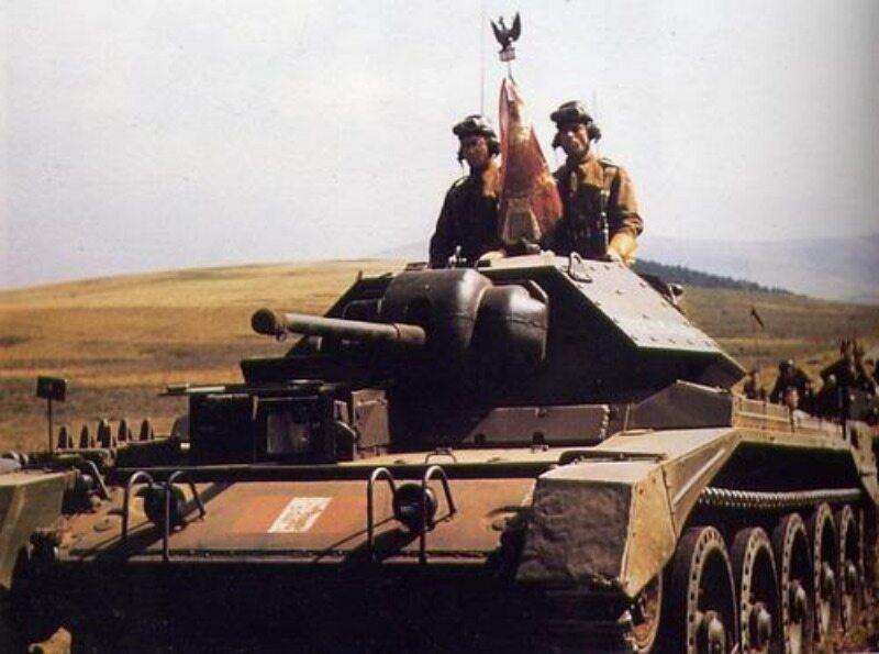 Czołg polskiej 1. Dywizji Pancernej Mk VI Crusader w Haddington, Wielka Brytania (1943 r.)