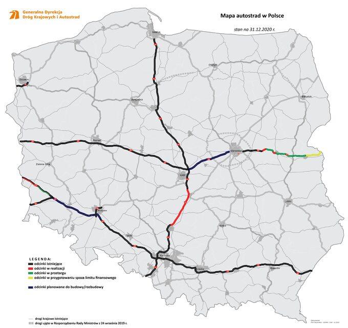 Mapa autostrad wPolsce