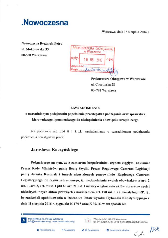 Zawiadomienie Nowoczesnej wsprawie J. Kaczyńskiego