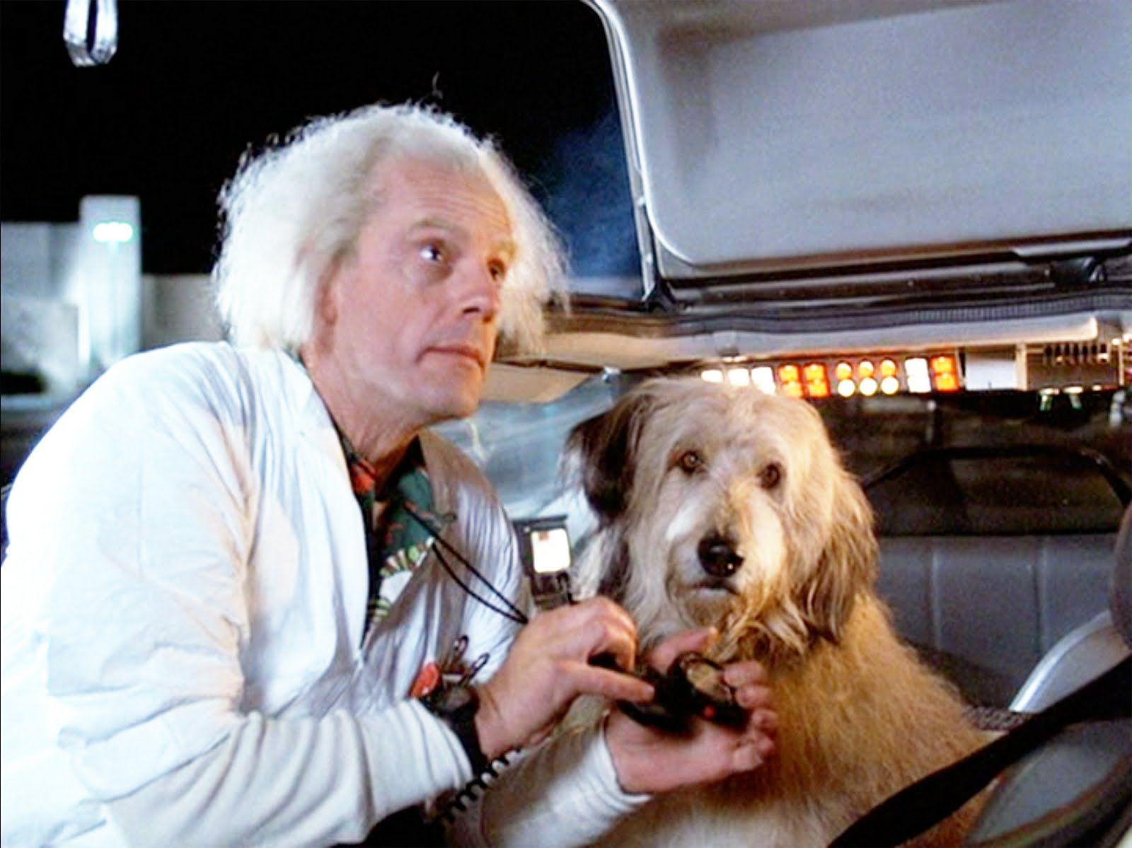 """Na zdjęciu widzimy dr Emmetta Browna z filmu """"Powrót do przyszłości"""" oraz jego psa. Jak się nazywał?"""