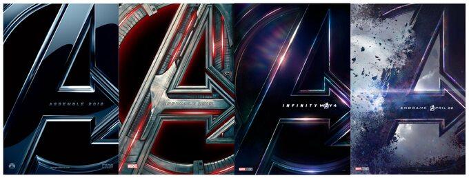 """plakaty każdej części """"Avengers"""""""