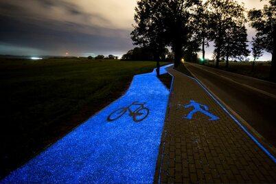 Świecąca ścieżka rowerowa pod Lidzbarkiem Warmińskim