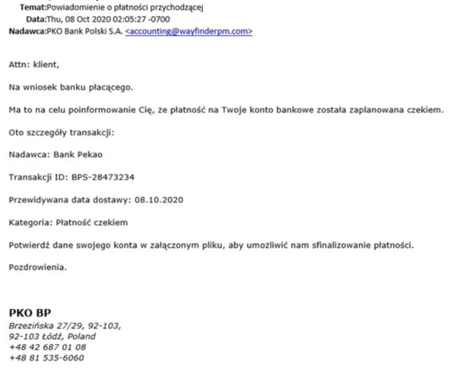 Fałszywy e-mail odbanku