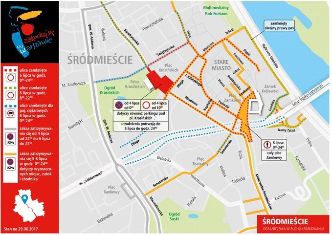 Warszawa -utrudnienia wruchu