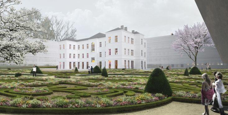 Projekt siedziby. Ogród i willa (wizualizacja, mat. prasowe)