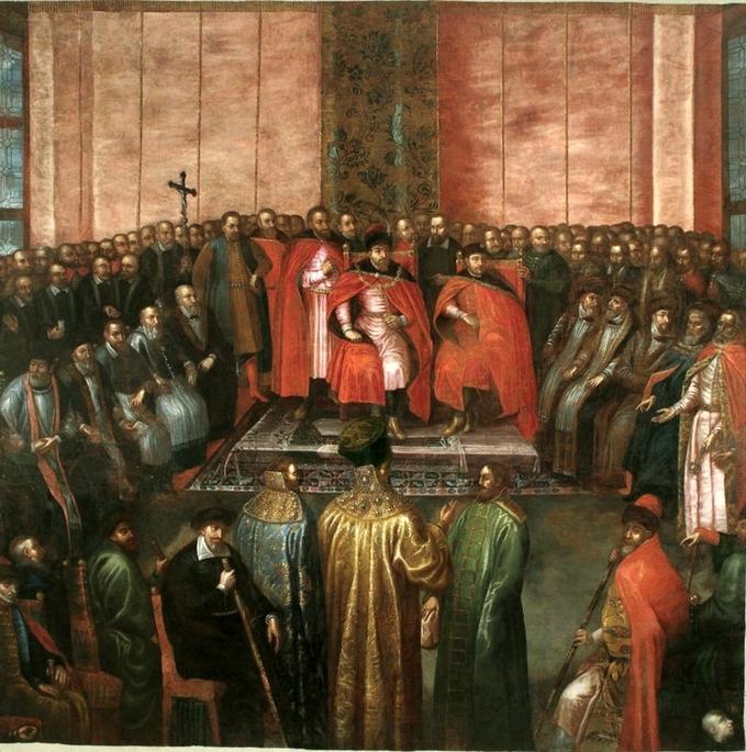 Stanisław Żółkiewski przedstawia królowi Zygmuntowi IIIna sejmie warszawskim w1611 roku pojmanych braci Szujskich