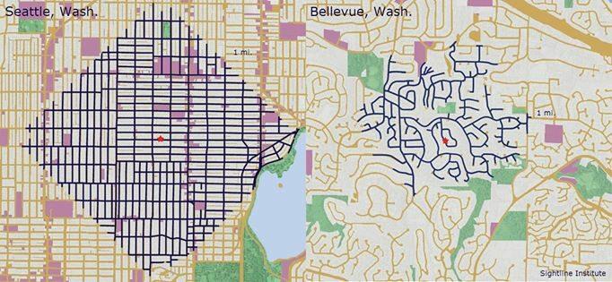 Dlaczego miasta są (czasem) fajniejsze od przedmieść. Na niebiesko zaznaczono, dokąd można dojść z czerwonego punktu, jeśli nie chce się iść dalej niż milę. Jak widać w mieście (Seattle, po lewej) dojdzie się znacznie dalej niż na przedmieściach