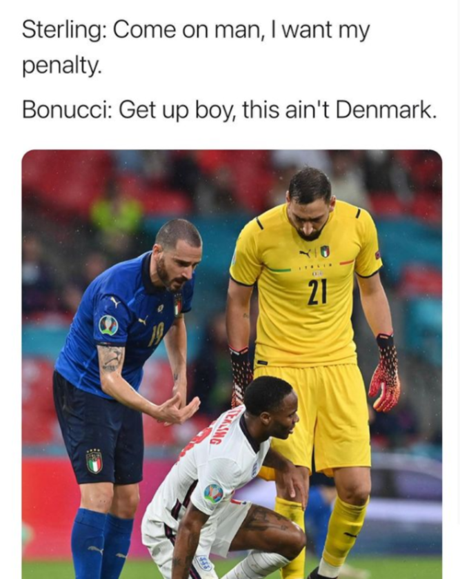 Sterling chciał rzutu karnego, ale to nie mecz z Danią...