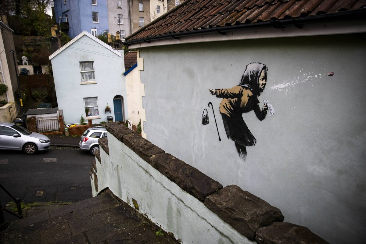 Mural Banksy'ego na Vale Street w Bristolu