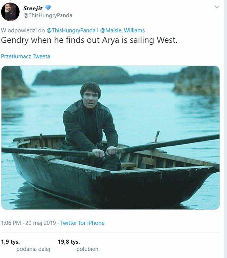 Genry, kiedy dowiedział się, że Arya pożeglowała na zachód