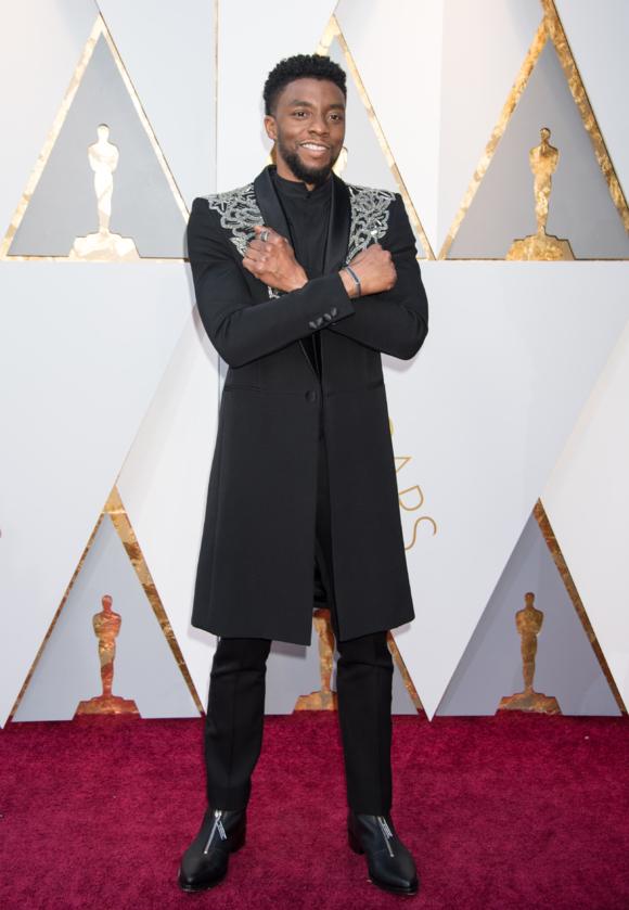 Chadwick Boseman podczas 90. ceremonii rozdania Oscarów w 2018 roku